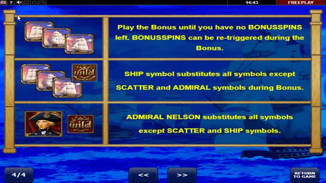 Игровой интерфейс Admiral Nelson 1