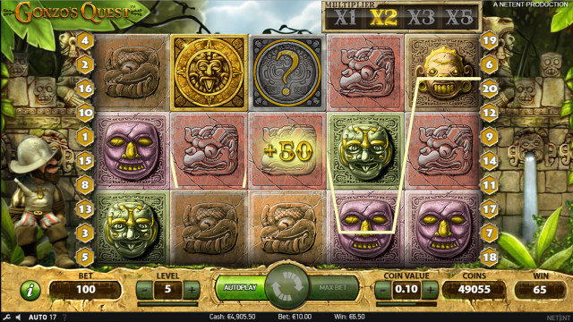 Игровой интерфейс Gonzo's Quest 10