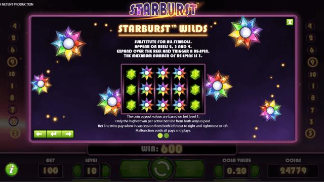 Характеристики слота Starburst 7