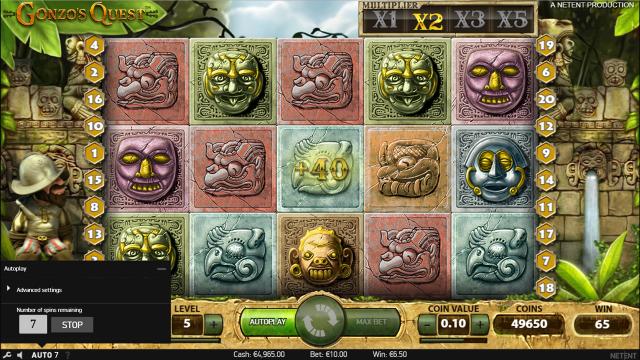 Игровой интерфейс Gonzo's Quest 7